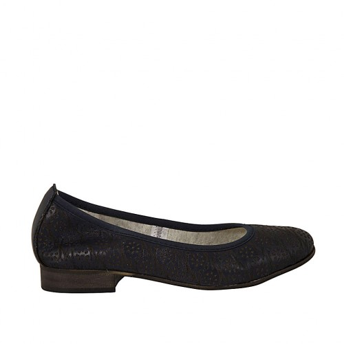 Woman's ballerina shoe in pierced blue leather heel 2 - Available sizes:  33, 34, 42, 43, 44, 45