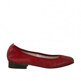 Bailarina para mujer en piel perforada color rojo talon 2 - Tallas disponibles:  33, 34, 42, 43, 44, 45