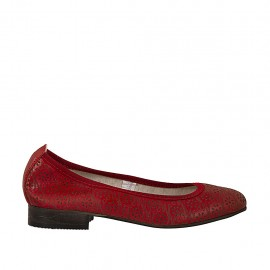 Woman's ballerina shoe in pierced red leather heel 2 - Available sizes:  33, 34, 42, 43, 44, 45