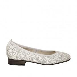 Ballerine pour femmes en cuir blanc avec spirales talon 2 - Pointures disponibles:  34