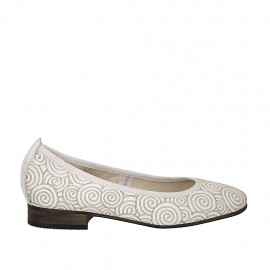 Woman's ballerina shoe in pierced white leather with spirals heel 2 - Available sizes:  33, 34, 43, 44, 45