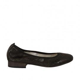 Ballerine pour femmes en cuir noir avec spirales talon 2 - Pointures disponibles:  33, 43, 44, 45