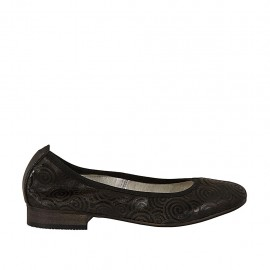 Woman's ballerina shoe in pierced black leather with spirals heel 2 - Available sizes:  33, 34, 43, 44, 45