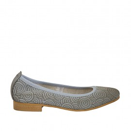 Woman's ballerina shoe in pierced blue gray leather with spirals heel 2 - Available sizes:  33, 34, 42, 43, 44, 45