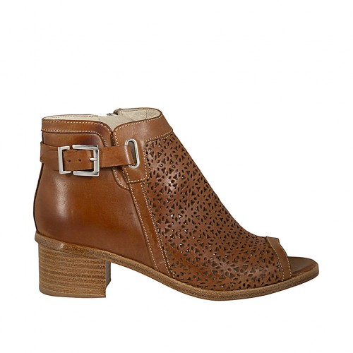 Woman's open toe highfronted shoe with zipper and buckle in tan pierced leather heel 4 - Available sizes:  33, 43, 44