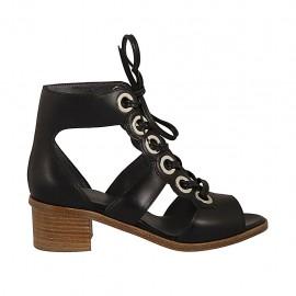 Chaussure ouvert avec lacets pour femmes en cuir noir talon 4 - Pointures disponibles:  34, 43