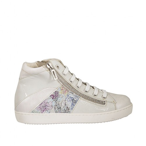 Laced shoe with zippers and removable insole in white patent leather, ivory and multicolored floral printed leather wedge 2 - Available sizes:  33