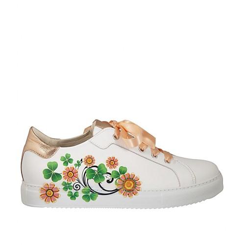 Scarpa stringata da donna in pelle bianca con stampa floreale e laminata rame con plantare estraibile zeppa 2 - Misure disponibili: 43