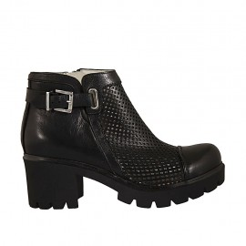 Woman's ankle boot with zipper and buckle in black leather and pierced leather heel 6 - Available sizes:  32, 33, 34, 43, 44