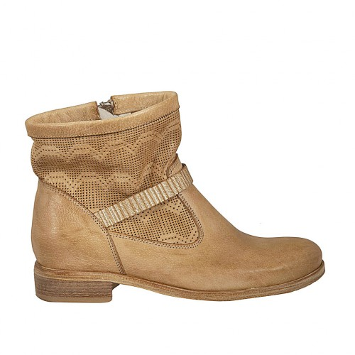 Woman's ankle boot with zipper in beige leather and pierced leather heel 2 - Available sizes:  34, 42, 45
