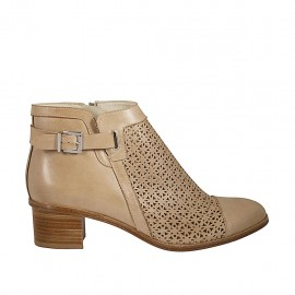 Woman's ankle boot with zipper and buckle in beige leather and pierced leather heel  - Available sizes:  42, 43, 44, 45
