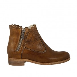 Woman's ankle boot with zippers in tan-colored leather and printed leather heel 2 - Available sizes:  34, 43, 46