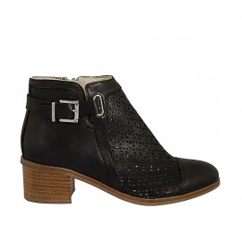 Woman's ankle boot with zipper and buckle in black leather and pierced leather heel 4 - Available sizes:  32, 33, 43, 45, 46