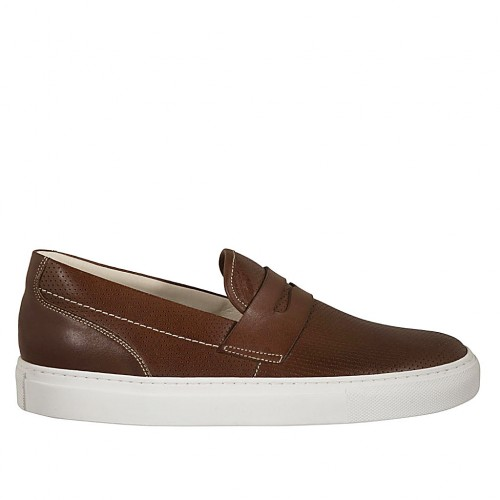 Man's loafer in brown pierced leather - Available sizes:  51