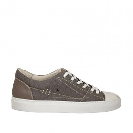 Men's laced sports shoe in grey fabric and taupe and white leather - Available sizes:  38, 47, 50, 51, 52