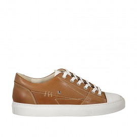 Men's sports shoe with laces in white leather and tan brown pierced leather - Available sizes:  37, 47, 48, 50, 52