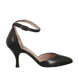 Woman's pointy open shoe with strap in dark blue leather heel 7 - Available sizes:  42, 43, 44, 45