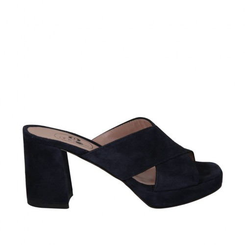 Woman's mules in dark blue suede with platform and heel 7 - Available sizes:  42
