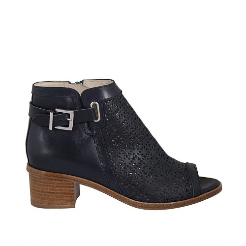Woman's open toe highfronted shoe with zipper and buckle in dark blue pierced leather heel 4 - Available sizes:  33, 34, 43, 44, 46