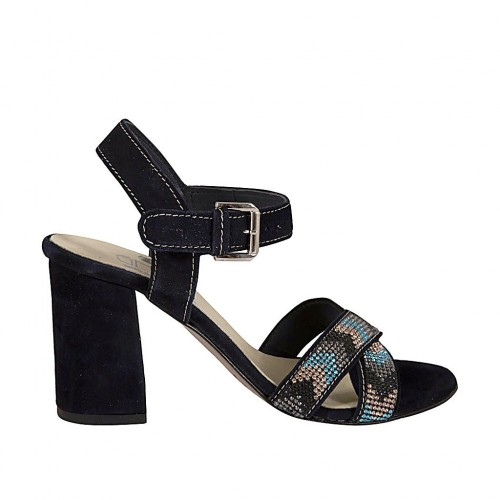 Woman's strap sandal with rhinestones in dark blue suede heel 7 - Available sizes:  43, 45