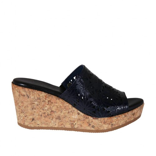Woman's open mules in dark blue pierced patent leather wedge heel 7 - Available sizes:  42, 43