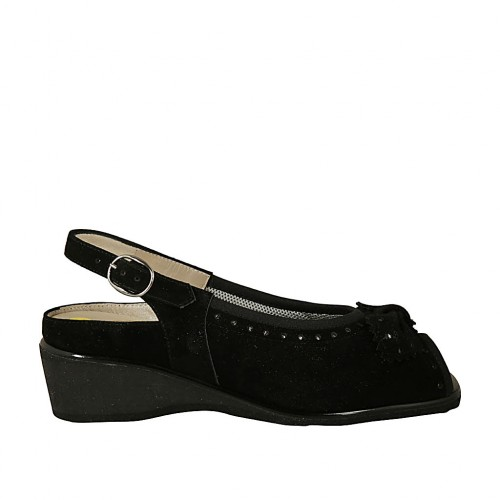 Woman's sandal with bow and removable insole in black suede wedge heel 4 - Available sizes:  33, 34, 42, 43, 44