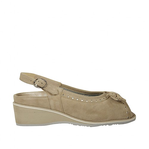 Woman's sandal with bow and removable insole in beige suede wedge heel 4 - Available sizes:  33, 34, 42, 43, 44