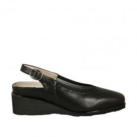 Chanel pour femmes avec semelle interieur amovible en cuir noir talon compensé 4 - Pointures disponibles:  33, 34, 42, 43, 44
