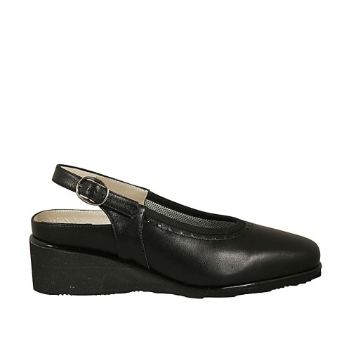Woman's slingback pump with removable insole in black leather wedge heel 4 - Available sizes:  33, 34, 42, 43, 44