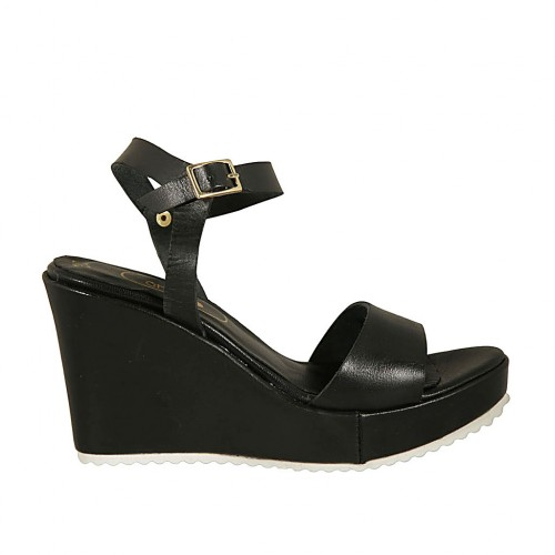 Woman's sandal in black leather with strap, platform and wedge heel 8 - Available sizes:  32, 42