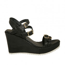 Woman's platform sandal with adjustable straps and buckles in black leather wedge 8 - Available sizes:  33, 34, 42, 43, 45
