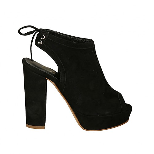 Woman's highfronted sandal with platform and back laces in black suede heel 10 - Available sizes:  34