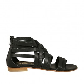 Zapato abierto infradedo para mujer con cremallera en piel negra tacon 1 - Tallas disponibles:  34, 42, 43, 44, 45, 46, 47