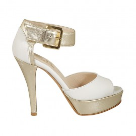 Woman's open shoe with buckle and platform in white leather and platinum laminated leather heel 10 - Available sizes:  32, 33, 34, 42, 43, 44, 45, 46