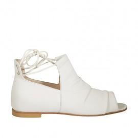 Zapato abierto para mujer con cordones en piel blanca tacon 1 - Tallas disponibles:  33, 34, 42, 43, 44, 45, 46