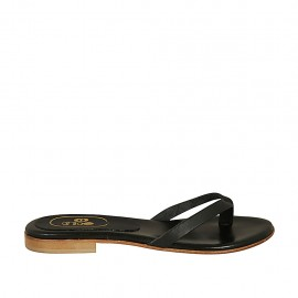 Zehenpantolette für Damen aus schwarzfarbigem Leder Absatz 1 - Verfügbare Größen:  33, 34, 42, 43
