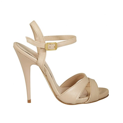 Woman's platform sandal with anklestrap in pearly nude leather heel 11 - Available sizes:  43, 44, 45