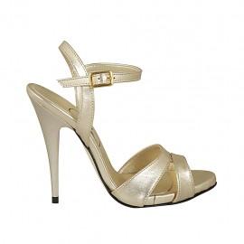 Sandalo da donna con cinturino alla caviglia e plateau in pelle platino tacco 11 - Misure disponibili: 32, 33, 34, 43, 44, 45