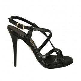 Sandalo a listini con cinturino e plateau in pelle nera tacco 11 - Misure disponibili: 33, 34, 42, 43, 44, 45