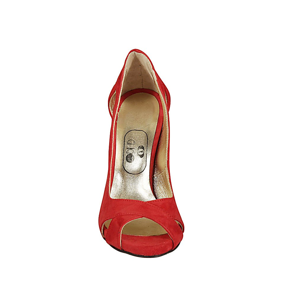 421b94070a5 Woman's open toe pump with platform in red suede with heel 11
