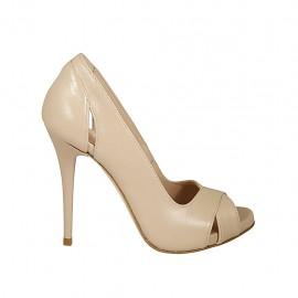 Zapato de salon abierto en punta con plataforma para mujer en piel color desnudo perlado tacon 11 - Tallas disponibles:  31, 33, 34, 42, 43, 44, 45