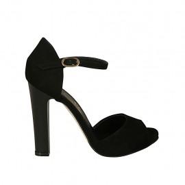 Zapato abierto para mujer con cinturon y plataforma en gamuza negra tacon 11 - Tallas disponibles:  31, 33, 34, 42, 43, 44, 45