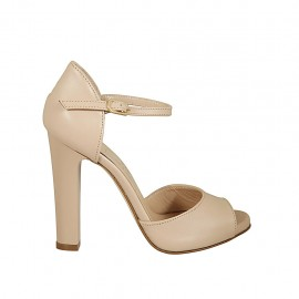 Woman's open shoe with platform and strap in nude leather heel 11 - Available sizes:  32, 33, 34, 43, 44, 45, 46