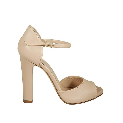 Woman's open shoe with platform and strap in nude leather heel 11 - Available sizes:  43, 46