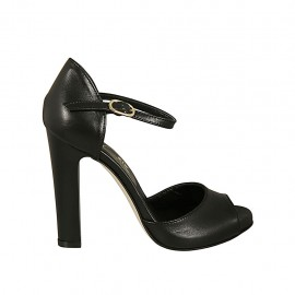 Woman's open shoe with platform and strap in black leather heel 11 - Available sizes:  31, 33, 34, 42, 43, 44, 45