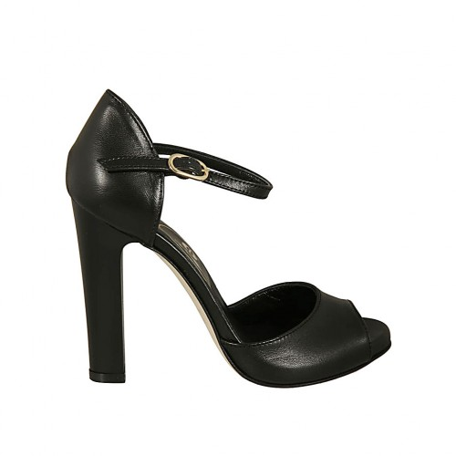 Woman's open shoe with platform and strap in black leather heel 11 - Available sizes:  31, 43