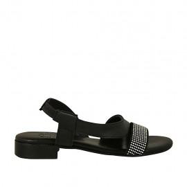 Sandalo da donna in pelle nera con elastico e strass tacco 2 - Misure disponibili: 33, 34, 42, 43, 44, 45