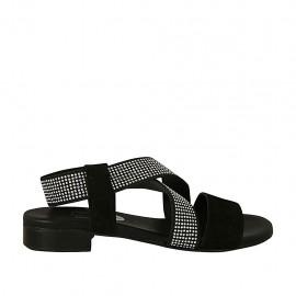 Sandalo da donna in camoscio nero con elastico e strass tacco 2 - Misure disponibili: 33, 34, 42, 43, 44, 45