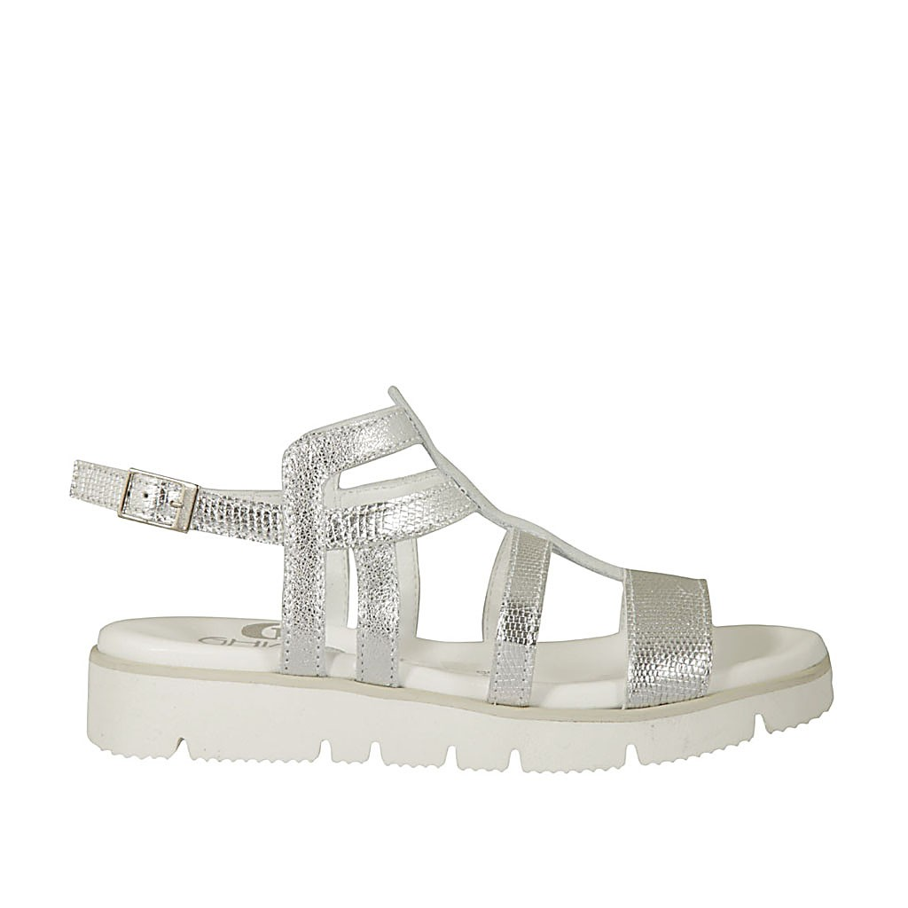 ceedca6ce05a Woman s sandal in silver printed laminated leather wedge heel 2 - Available  sizes  33