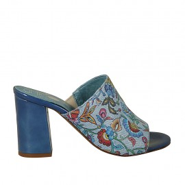 Woman's open mules in blue patent leather and fabric with flowers print heel 7 - Available sizes:  33, 34, 42, 43, 44, 45